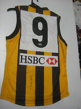 HAWTHORN- SHANE CRAWFORD HAND SIGNED #9 HOME JERSEY UNFRAMED