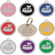 Dog Bowl Fashion Novelty Identity Name Pet Tags-25mm Engraved/Personal For Dogs
