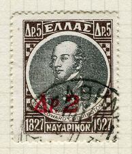 GREECE;   1932 early surcharged issue fine used 2d. value