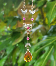 Edwardian Inspired 9ct Rose Gold Citrine, Ruby & Diamond Drop Necklace