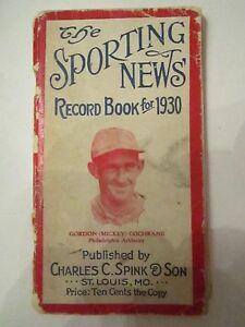 1930 THE SPORTING NEWS RECORD BOOK - GORDON COCHRAN - NICE - TUB AA
