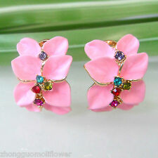 Navachi Pink Enamel Flower Leaves 18K GP Crystal Omega Earrings BH1508