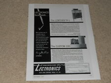 Very Rare Lectronics Lowther TP-1 Speaker Ad, 1956, Custom 100 Tube Amp Info,1pg