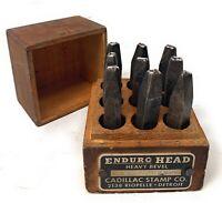 """Vintage """"CADILLAC DETROIT ENDURO HEAD 1/4 #1-9"""" Heavy Metal STAMPING DIE Nice"""