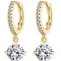 Fashion Ring Zircon Clear Rhinestone Stud Gorgeous Crystal Drop Earrings Useful