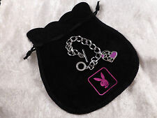 Playboy Unusually Subtle Rhodium Plated Bracelet Pink Enamelled Hearts Gift Bag