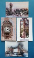 Set of 4 NEW London Postcards, Abstract, Grunge art, Big Ben, Tower Bridge 82N