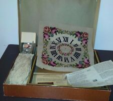 Bucilla Vintage Needlepoint Rose Floral Clock Kit Wood Frame Virgin Wool Yarn