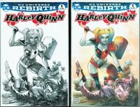 Harley Quinn DC Rebirth #1 Manapul Variant Color & B&W Set High Grade NM Batman