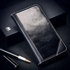 For LG Treasure LTE Escape 3 Real Genuine Leather Wallet Case Cover Folio BLACK
