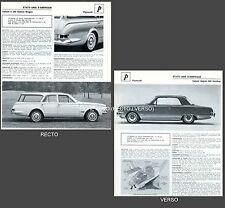 PLYMOUTH Valiant V/200 Station Wagon / Signet Hard/Top FICHE AUTO COLLECTION #J1