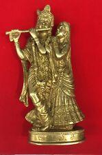 BRASS SCULPTURE LORD KRISHNA & RADHA STATUE AVATAR OF VISHNU & SHAKTI DIVINE