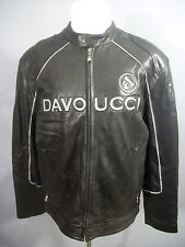 Vintage WALTER DAVOUCCI Sz L Black Leather HIP HOP Cafe Racer Motorcycle Jacket
