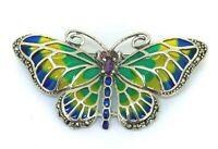 Schmetterling  Brosche Amethyst, Rubin, Markasit & Emaille   925er Silber