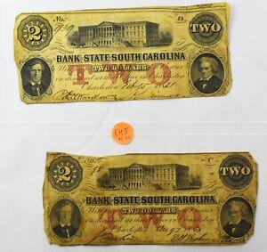 Lot of 2 1861 Bank of South Carolina Civil War $2 Banknotes - NO RESERVE - EH5