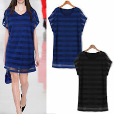 Scoop Neck Tunic Casual Striped Dresses for Women
