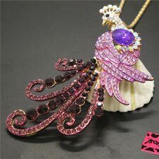 New  Purple Bling Peacock Animal Crystal Betsey Johnson Pendant Women Necklace