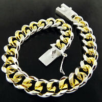 Bracelet Bangle Real 925 Sterling Silver S/F Solid 18k Gold G/F Mens Curb Link