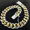Bracelet Bangle Real 925 Sterling Silver S/F Solid 18k Gold G/F Mens Curb Link