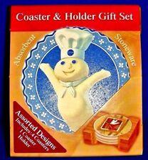 NIP Set of 4 Pillsbury Doughboy Aquastone Terra Coasters & Wood Holder Gift Set