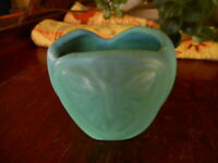 "Van Briggle Blue Moth Colorado Springs CO Vase Scalloped apx 3""  pottery 1990's"
