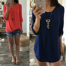 Fashion Women's Blouse Loose Long Sleeve Chiffon Casual Shirt Tops Summer Blouse