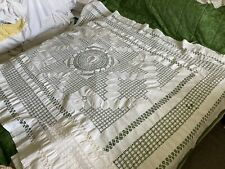 """More details for antique tablecloth extensive drawn thread decoration 62"""" 76"""""""