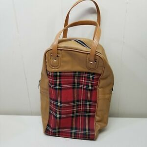 Thermos Travel Bag Red Plaid Brown Carry Handles Vintage Lunch Box 14 x 9 in