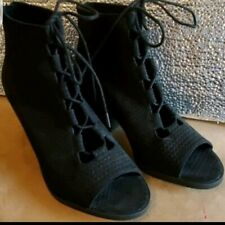 New Eileen Fisher Slew Black Suede Lace up Back Zip Booties Boot shoes sz 6 $275