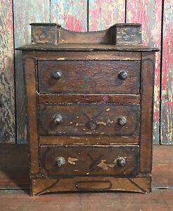 Old Antique Primitive Grain Paint Cottage Doll Dresser AAFA Salesman Sample sz