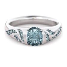 Natural Blue Sapphire Diamond 925 Silver Wave Ring Wedding Rings UK!