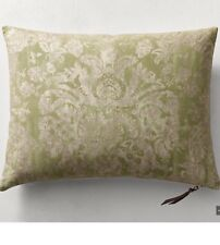 restoration hardware Ratti Hand-Screened Damask Linen Pillow Cover 18x24 citron