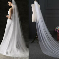 Bridal Wedding Cathedral Long Tier With Comb Lace ivory Soft Net 3m RER