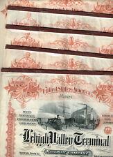 Set 5 Lehigh Valley Terminal Railway Co.,1891, cancelled Gold-Bond, VF minus-F