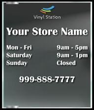 Classic Custom Business Store Hours Window Decal Sticker Sign Door