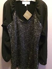 NWT..AMERICAN GLAMOUR..BLOUSE..L..LARGE NECK..SEQUINS ON COARSE..SHEER SLEEVES..