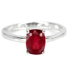 GENINE BLOOD RED RUBY CUSHION STERLING 925 SILVER SOLITAIRE RING SIZE 8.25