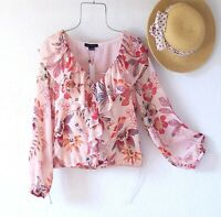 New~$89~Peach Paradise Floral Peasant Blouse Ruffle Shirt Boho Top~Size Medium M