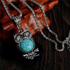 Owl Pendant Turquoise Stone Crystal Retro Women Sweater Chain Necklace Jewelry