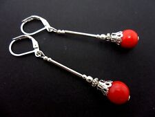 A PAIR OF LONG RED CORAL BEAD  LEVERBACK HOOK EARRINGS . NEW..