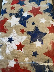 Summer Fun Burlap and Stars Flannel Lined Vinyl Tablecloth Red White Blue NIP