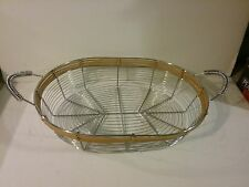 Decor Oval Wire Metal  Basket   with Handles and Wicker Trim
