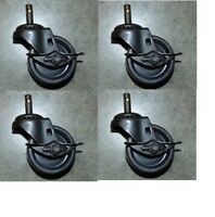 "(4) DuraStar Swivel Caster 3""x1-1/4"" Polyolefin Wheel (7/16"" Grip Ring) W/ Brake"