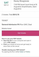 Kacey Musgraves 2 Tickets GA ORCH PIT- St. Augustine 9/21/2019