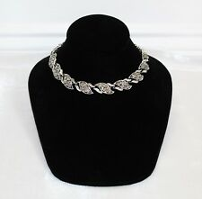 Vintage Black Diamond Rhinestone Silver Tone Choker Necklace