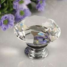 Diamond Clear Crystal Glass Door Pull Drawer Knob Handle Cabinet Furniture NH