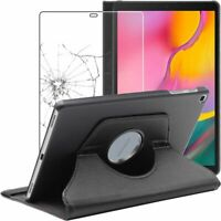 Etui Samsung Galaxy Tab A 10.1 2019 T510 T515 Rotatif 360 PU Cuir + VERRE Trempé