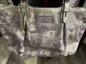 Rare Coach Horse AndCarriage Sateen With Silver Metallic Trim