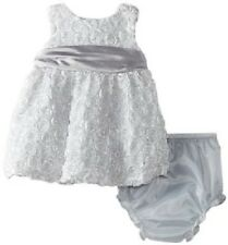 Rare Editions Infant Girl 2pc Silver Spiral Soutach Formal Dress, 18M - MSRP $54