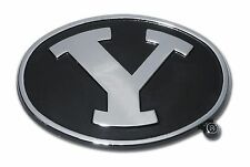 BYU Cougars Chrome Metal Auto Emblem (Black and Chrome) NCAA Licensed